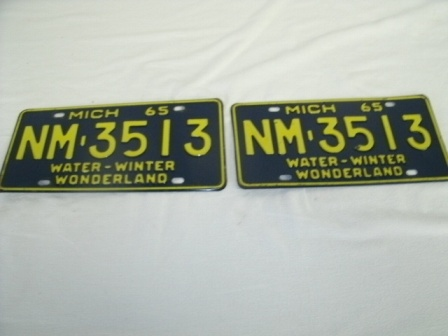 1965 Michigan License Plates